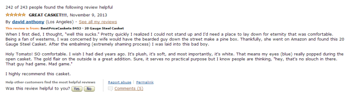 Funny Amazon Casket Review